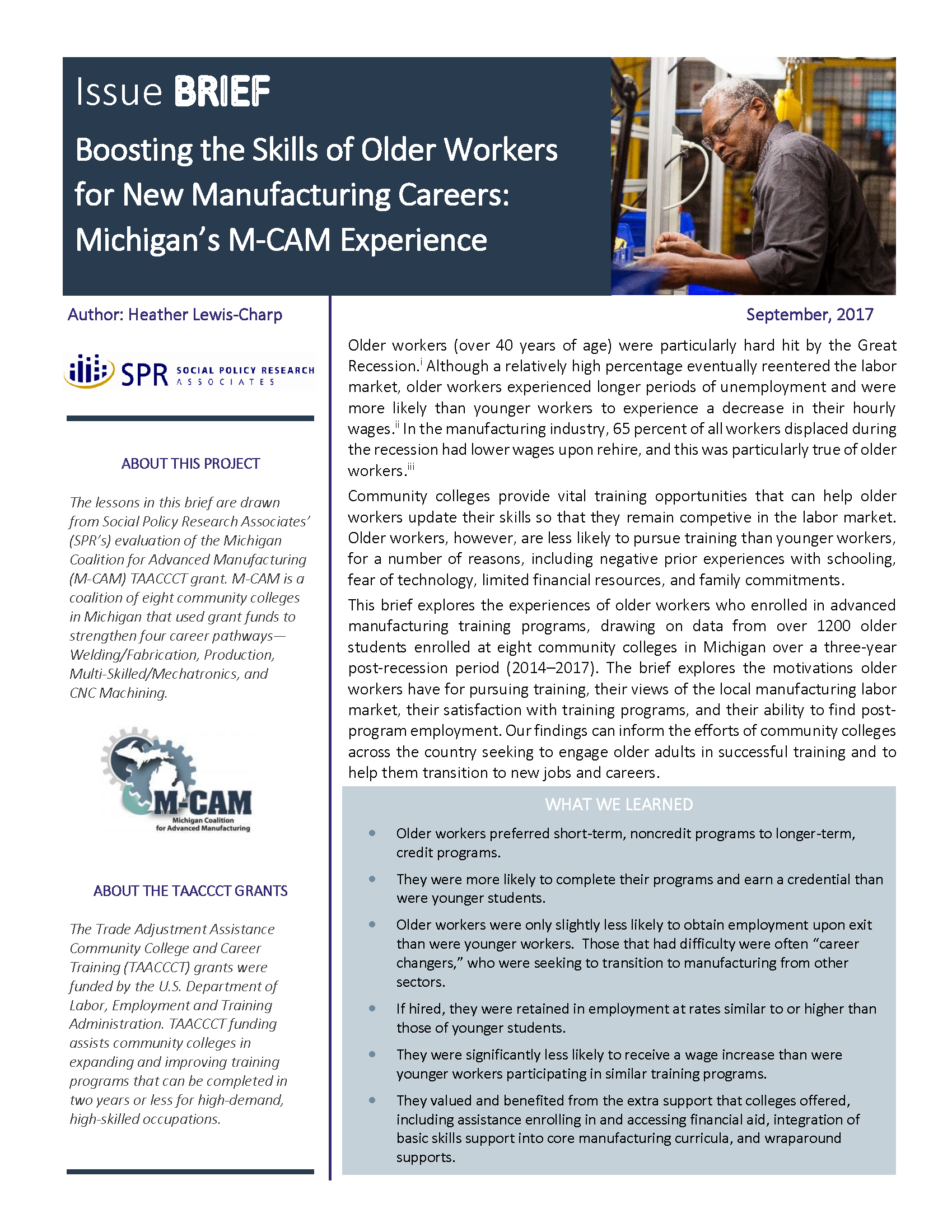 Cover of Boosting the Skills of Older Workers for New Manufacturing Careers: Michigan's M-CAM Experience Brief
