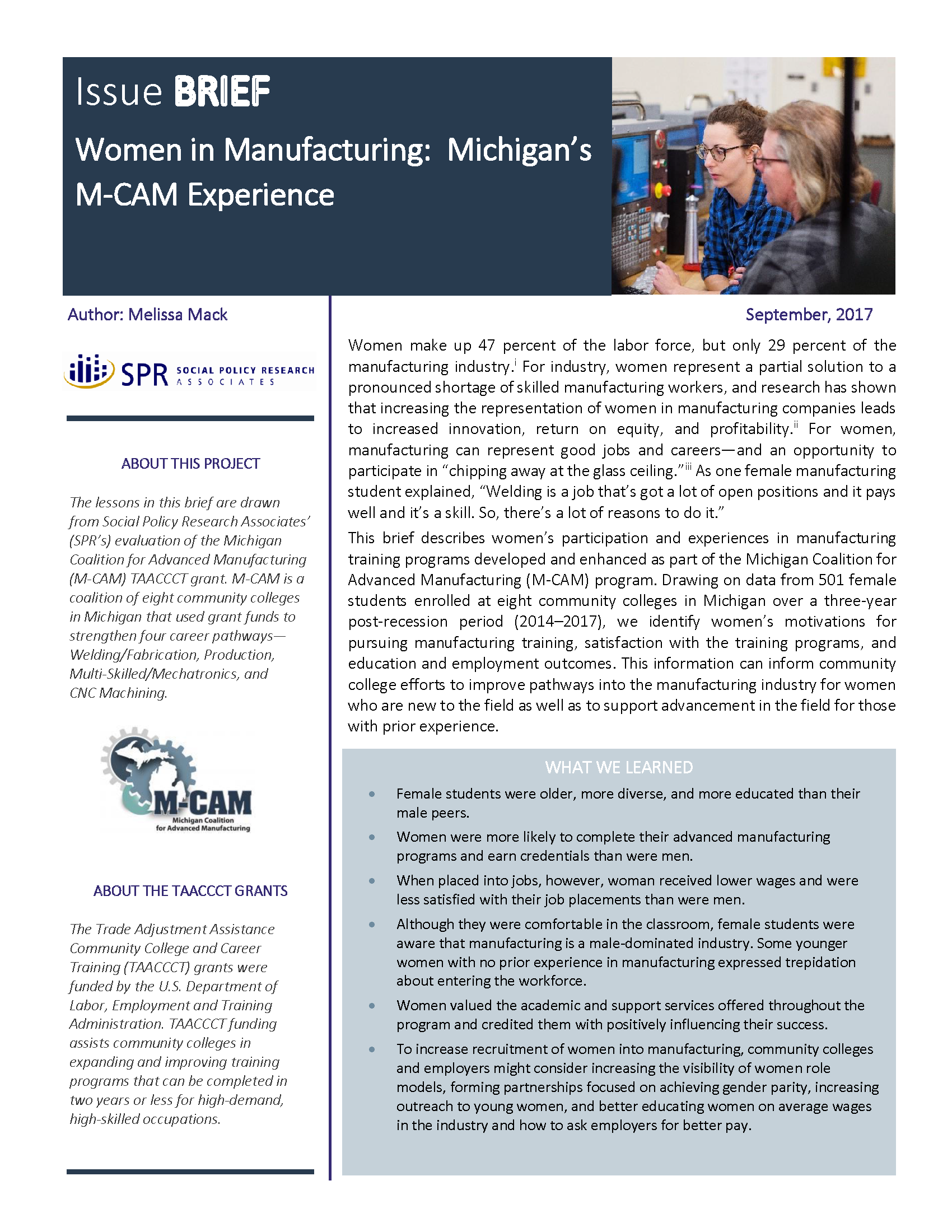 Cover of Women in Manufacturing: Michigan's M-CAM Experience Brief