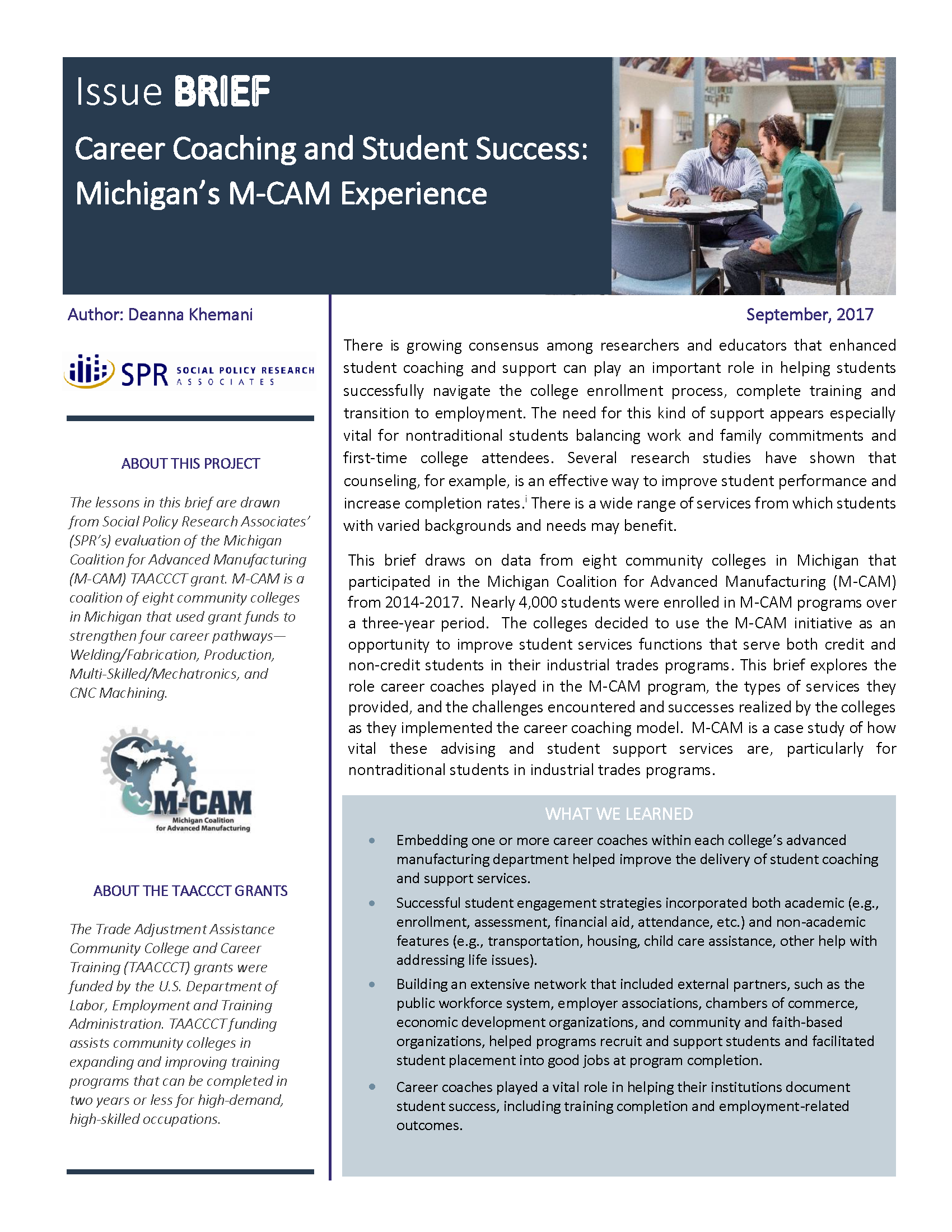 Cover of Career Coaching and Student Success: Michigan's M-CAM Experience Brief