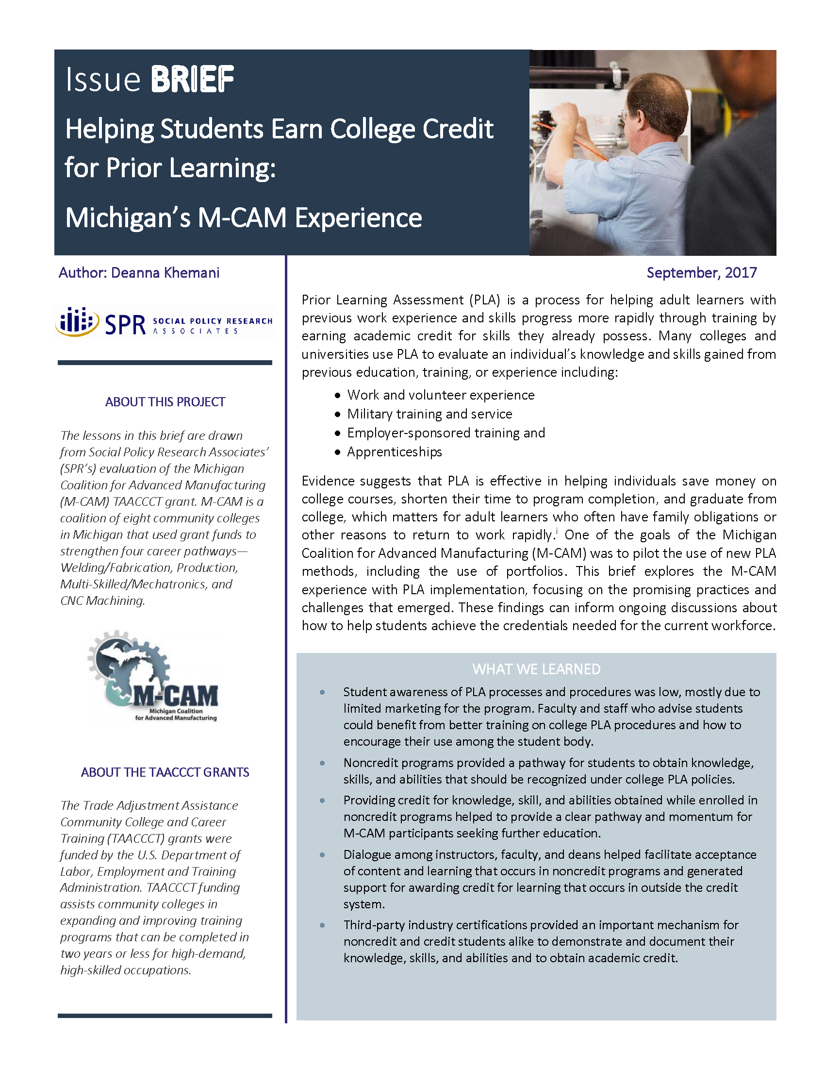 Cover of Helping Students Earn College Credit for Prior Learning: Michigan's M-CAM Experience Brief