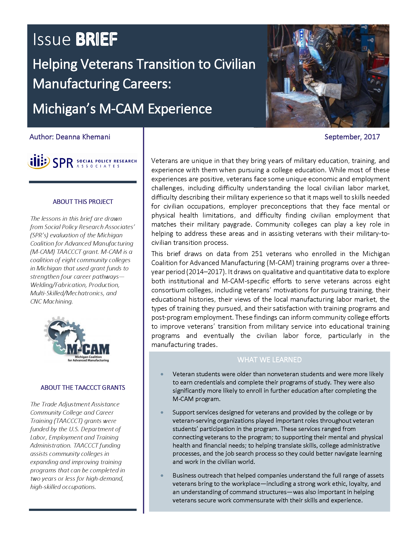 Cover of Helping Veterans Transition to Civilian Manufacturing Careers: Michigan's M-CAM Experience Brief