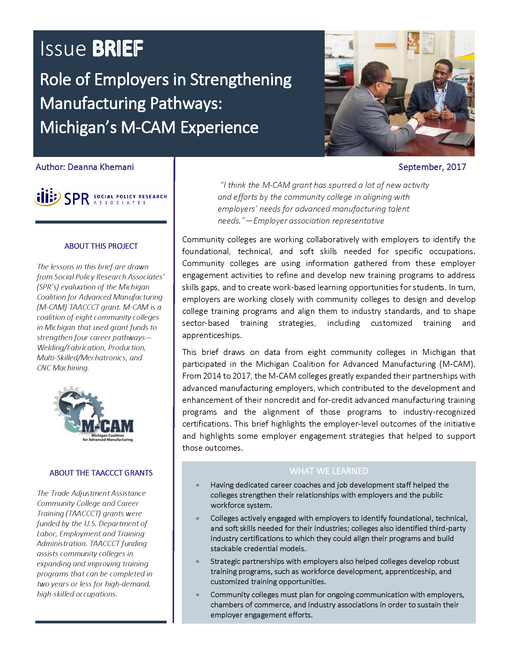 Cover of Role of Employers in Strengthening Manufacturing Pathways: Michigan's M-CAM Experience Brief