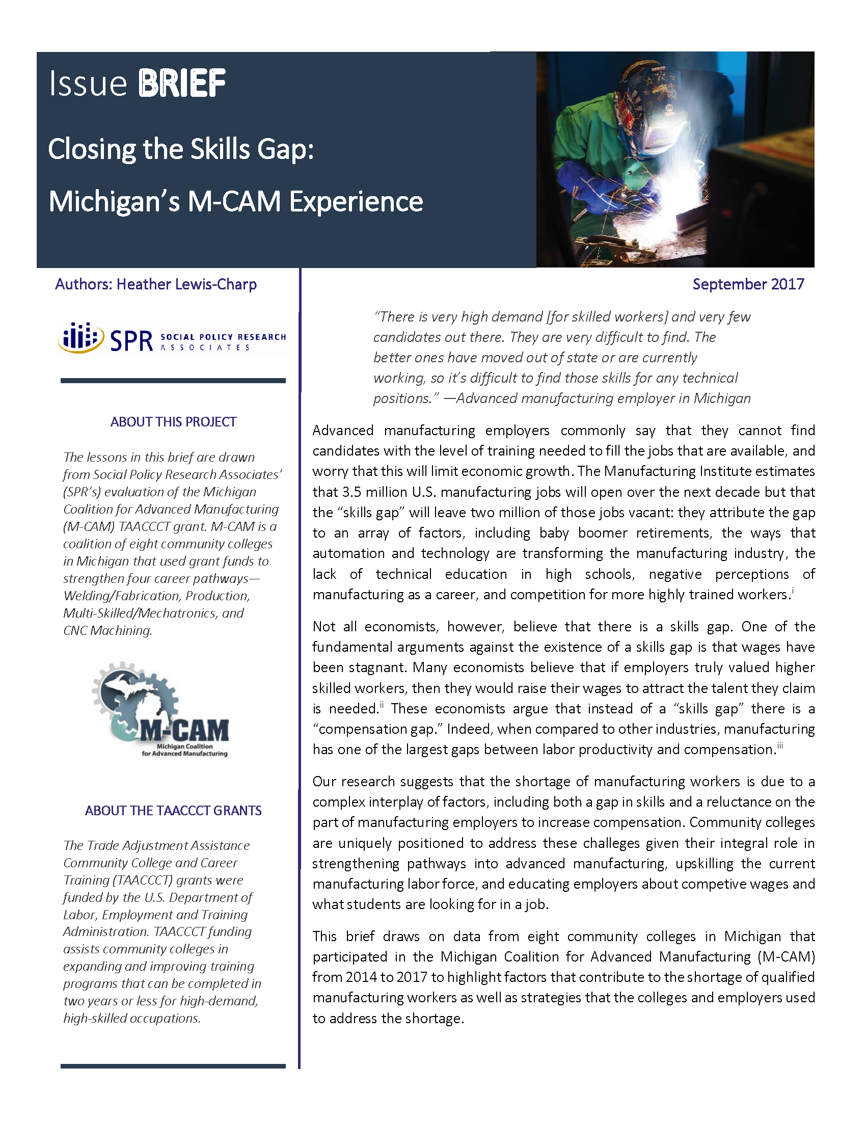 Cover of Closing the Skills Gap: Michigan's M-CAM Experience Brief