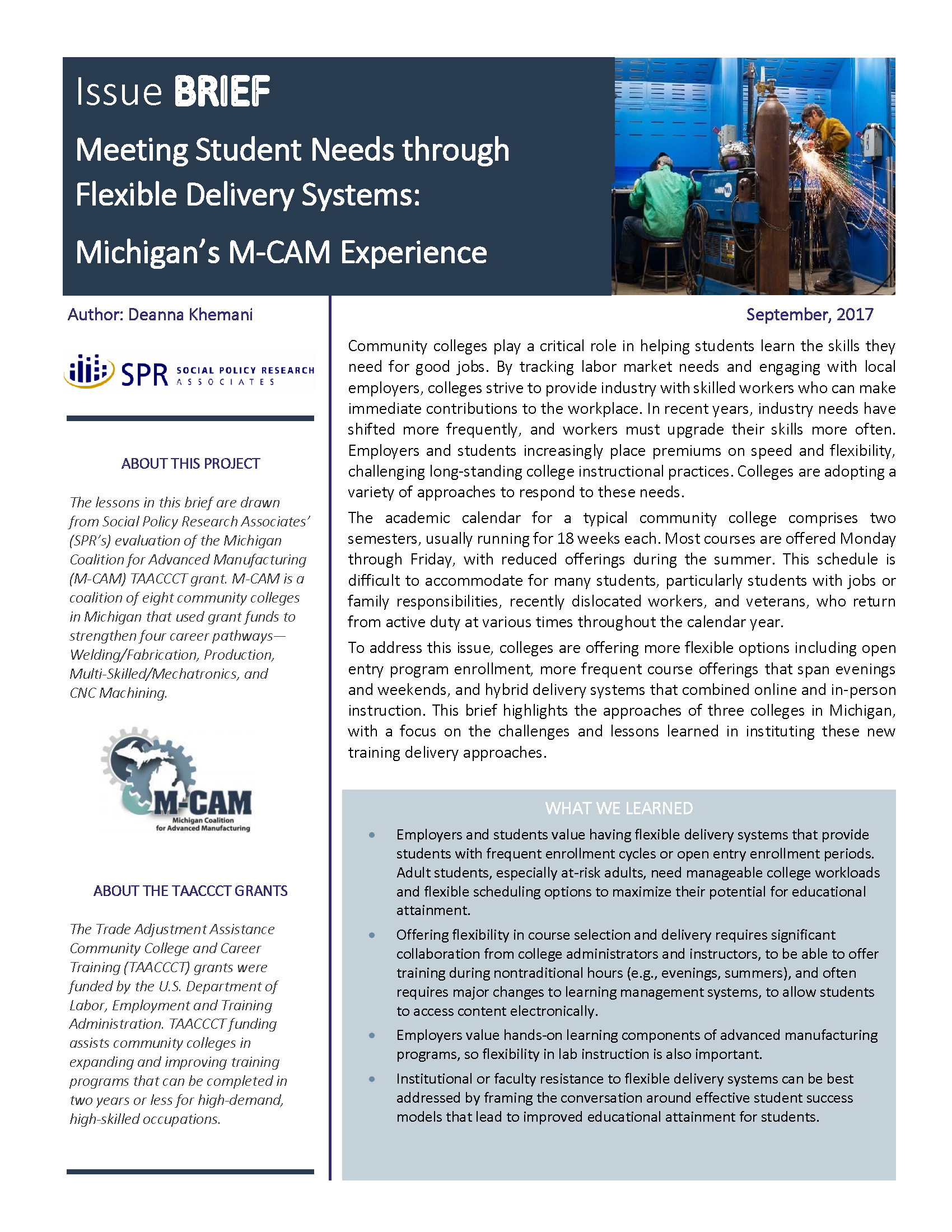 Cover of Meeting Student Needs through Flexible Delivery Systems: Michigan's M-CAM Experience Brief