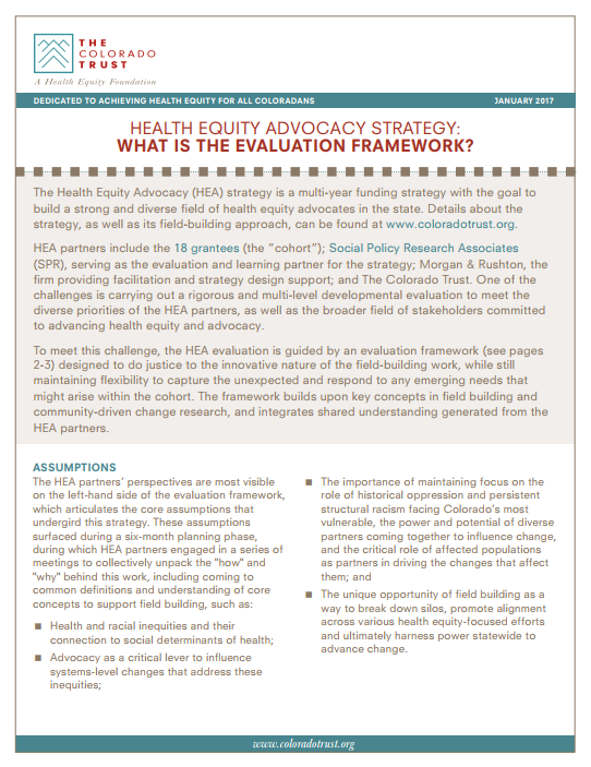 Cover of Health Equity Advocacy Strategy: What is the Evaluation Framework? Report