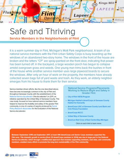 Cover of Safe and Thriving: Service Members in the Neighborhoods of Flint