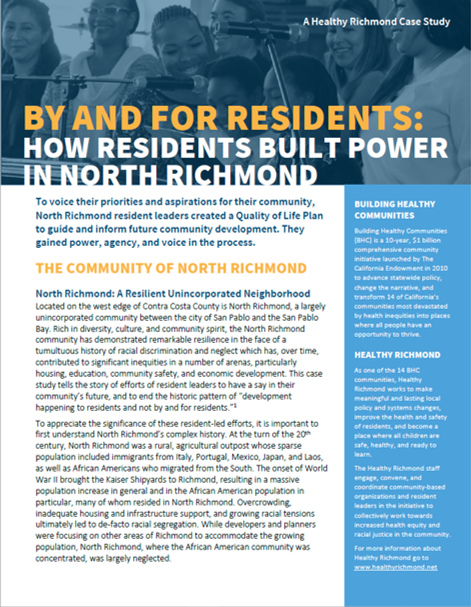 Cover of Healthy Richmond Case Study