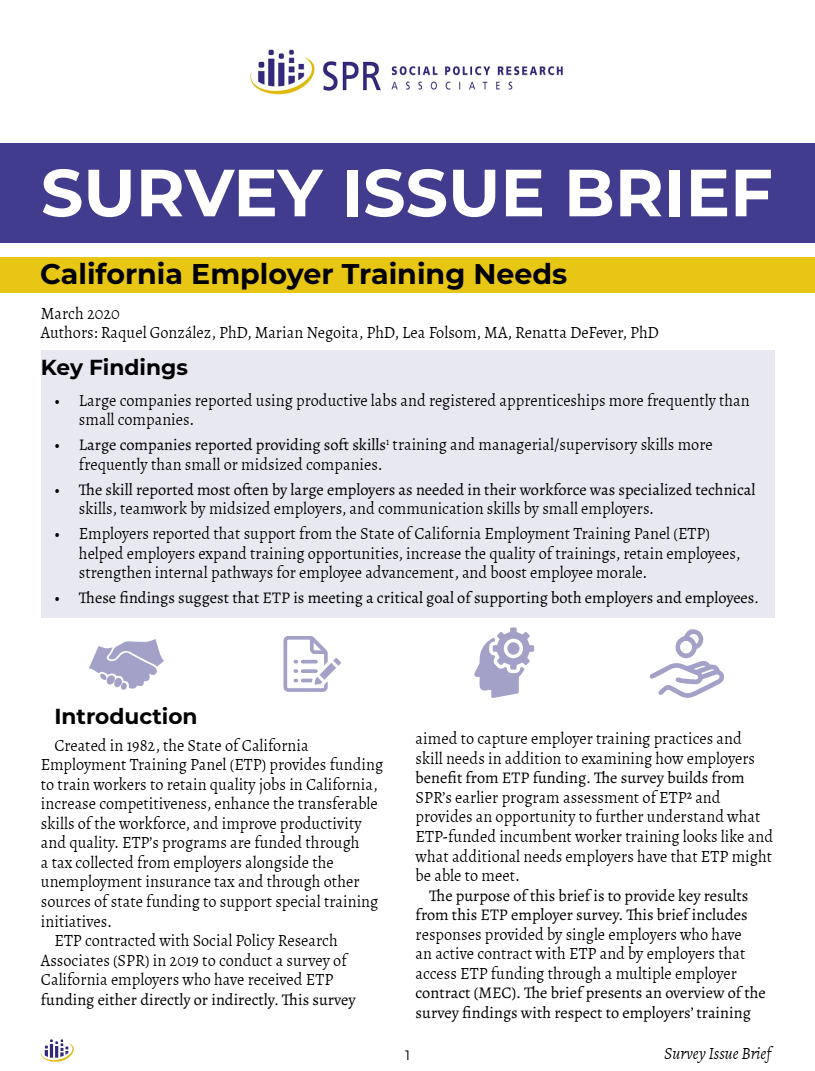 Cover of California Employment Training Panel Survey report