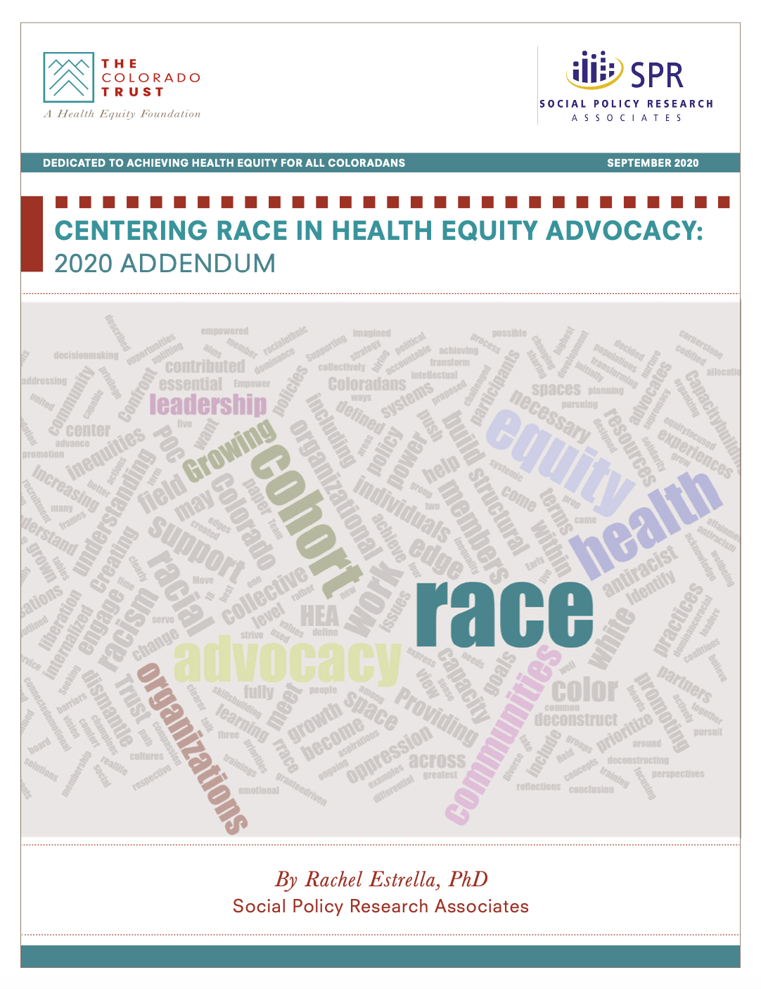 Cover of Centering Race in Health Equity 2020 Addendum