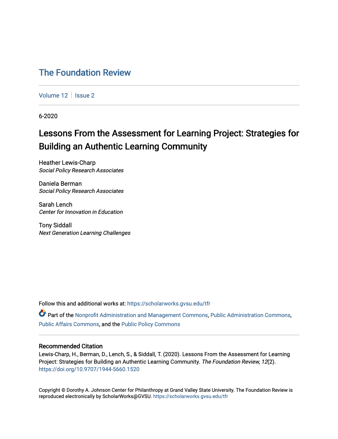 Cover of Lessons From the Assessment for Learning Project: Strategies for Building an Authentic Learning Community