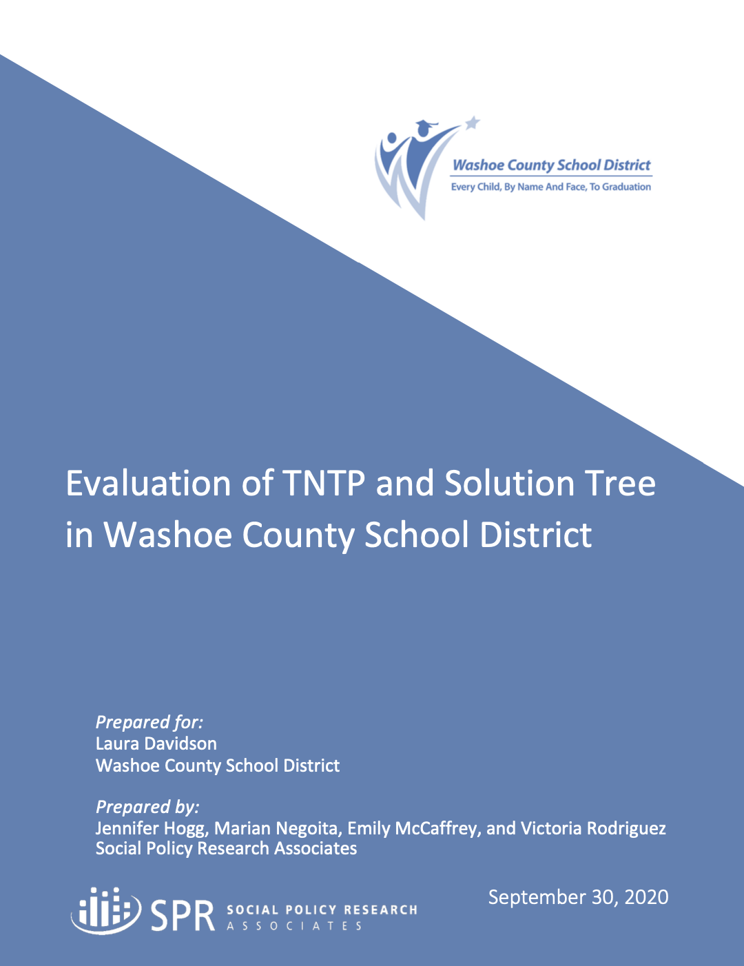 Cover of Evaluation of TNTP and Solution Tree in Washoe County School District report